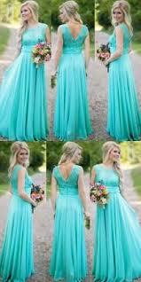 Modest Scoop A Line Long Blue Bridesmaid Dress