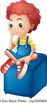A Young Boy Sitting Above The Blue Chair Vector