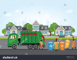 City Waste Recycling Concept Garbage Truck Stock Vector (Royalty ...