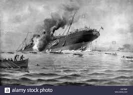 Where Did The Rms Lusitania Sink by Rms Lusitania Torpedoed By A German Submarine On May 7 1915 Stock