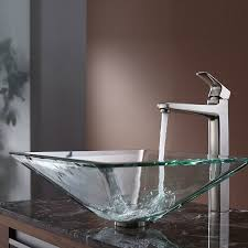 Kraus Vessel Sinks Combo by Kraus Square Glass Vessel Sink In Clear With Virtus Faucet In