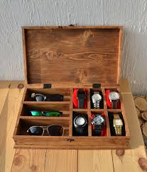Dresser Valet Watch Box by Rustic Men U0027s Watch Box For 6 Watches Rustic Sunglasses Box