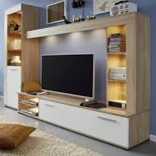 Anbauwand Wohnzimmer Mã Bel Möbel Wohnen Weiß Matt Sonoma Eiche Wohnwand Hugo