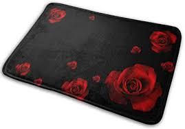 denetri dyerhoward badematte schöne rote blumen schwarze natur 3d hd rutschfester badteppich waschbar weiche küche fußmatte