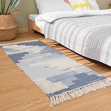 shacos baumwollteppich waschbar getuftet teppich blau modern teppich wohnzimmer teppich handgewebt retro teppich weich mit fransen für wohnzimmer