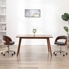 vidaxl esszimmerstuhl drehbar grau bugholz und stoff
