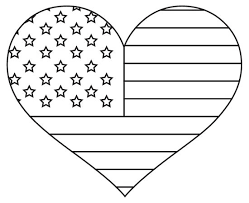 Patriotic American Flag Coloring Page Heart Pages For Kids