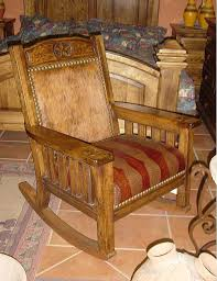 Texas Style Rocking Chairs In Southwest Hides Western Textiles And Custom Stains