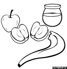 Free Rosh Hashanah Coloring Pages Color In This Picture Of Honey With Apples And Others Our Library Online