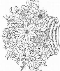 Floral Coloring Pages Flowers In Basket