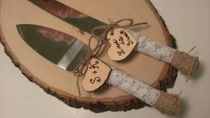 Rustic Wedding Cake Knife Customized Burlap Serving Set And LaceK105