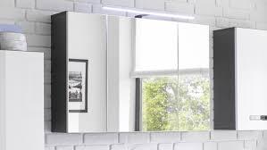 spiegelschrank in grau mit led beleuchtung für bad