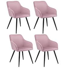 esszimmerstühle tarje 4er set samt und bequeme sitzfläche polsterstuhl mit metallbeinen kratzfest loungesessel mit armlehnen rosa artlife