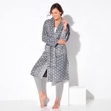 robe de chambre femme peignoir polaire toucher peluche longueur 115 cm blancheporte