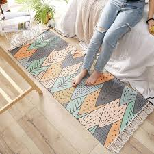 großhandel einfache nordic stricken quaste baumwolle fußmatte lange familie schlafzimmer teppiche rutschfester bettvorleger bereich teppich für