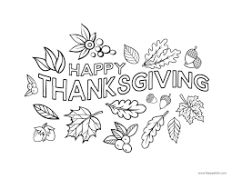 Happy Thanksgiving Coloring Page Pages Hello Kitty Drawing