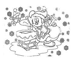 Mickey Mouse On Santa Claus Outfit Christmas Coloring Page
