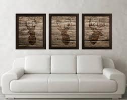 Antler Stag Deer Print Set Of 3 Wood Texture