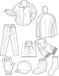 Winter Clothing Colouring Pages