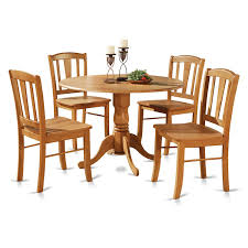 100 Round Oak Kitchen Table And Chairs Amazoncom East West Furniture DLIN5OAKW 5Piece