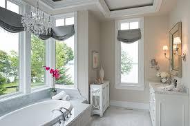 Chandelier Over Bathroom Vanity by Gray Bathroom Vanity Contemporary Bathroom Sophie Burke Design