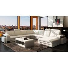 canape angle cuir italien canapé d angle panoramique cuir blanc 10 places ha achat vente