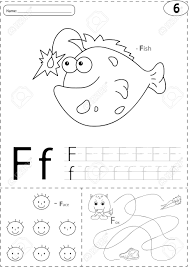 Cartoon Fish Face And Fox Alphabet Tracing Worksheet Writing A Z Coloring Book