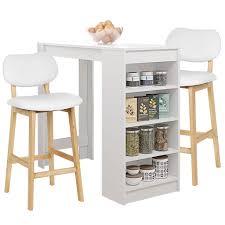 bartisch beistelltisch mit 2 stühlen esszimmer essgruppe bistrotisch küchenbartisch stehtisch tresentisch 115x50x103cm weiß