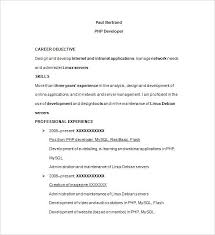 Php Developer Resume Sample Template Free Samples Examples Format For