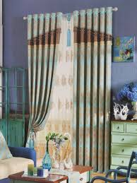 European Cafe Window Art Curtains by Blue And Brown Floral Curtains Tan Living Room With Red Accents