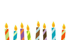Animated cartoon birthday candles flickering and being blown out against a white background Candles located