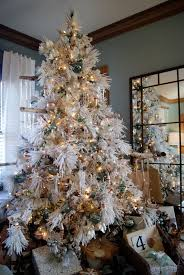 Flocked Downswept Christmas Trees by White Flocked Christmas Trees Christmas Lights Decoration