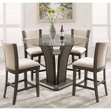 Furniture Dining Room Large Round Glass Table Rustic Sets ...