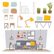 100 Projects Contemporary Furniture Vector Room Interior Design Apartment Home Decor Concept