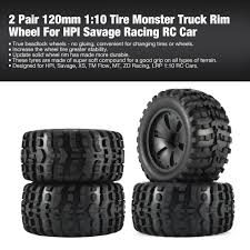 100 Good Truck Tires 2 Pair 120mm 110 Tire Monster Rim Wheel For HPI Savage