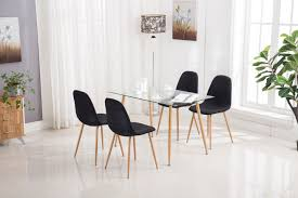 100 Designer High End Dining Chairs Mecor Set Glass Top Table With Satin Kitchen Breakfast
