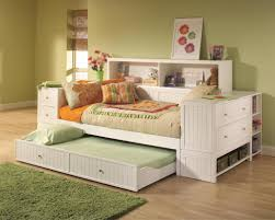 daybed White Stained Wood Full Size Trundle Bed With Storage For
