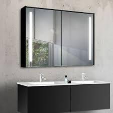 details zu schwarz aluminium led warm kalt weiß licht wand badezimmer spiegel schrank 100cm