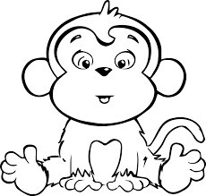 Baby Monkey Coloring Pages 1