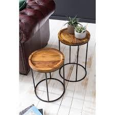 design satztisch wl5 661 sheesham metall beistelltisch 2er set klein couchtisch set 2 holz tische massivholz wohnzimmertisch metallgestell