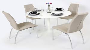 100 White Gloss Extending Dining Table And Chairs 4 Mink Grey Homegenies