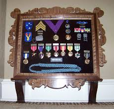 Shadow Box Military Medals Of Honor Display Case Custom Made Curly Walnut With Matching Flag