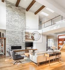 schöne wohnzimmer interieur mit parkettboden gewölbte decke bilder myloview