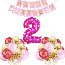 2 geburtstag deko mädchen 2 jahre rosa geburtstag luftballons deko 2 jahre set happy birthday baby supplies für mädchen kindergeburtstag