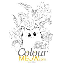 0004 Colour Meow Cat Colouring Page Neko Yoko