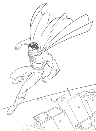 The Superman Flying In Sky Free Coloring Page