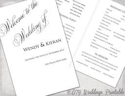 Wedding Program Template DIY Ceremony Printable Black White Parfumerie Any Color YOU EDIT Digital Download