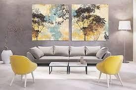 leinwand bild set 150x70x5 bäume natur gemälde lounge