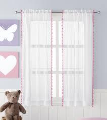 Sheer Curtains Walmart Canada by Mainstays Kids Pom Pom Sheer Rod Pocket Panels Walmart Canada
