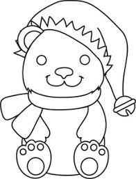 Free Teddy Bear Clipart Image Coloring Page Of A Christmas Wearing Santa